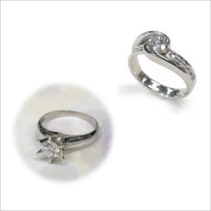 Pt立爪ダイヤモンドリングのジュエリーリフォーム