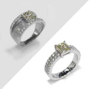 プリンセスカットダイヤモンドリングのジュエリーリフォーム