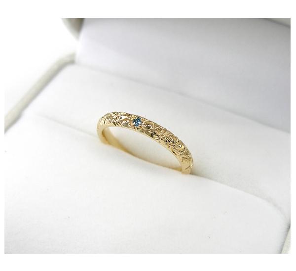 ハワイアンジュエリー K18ブルーダイヤモンド入りリング