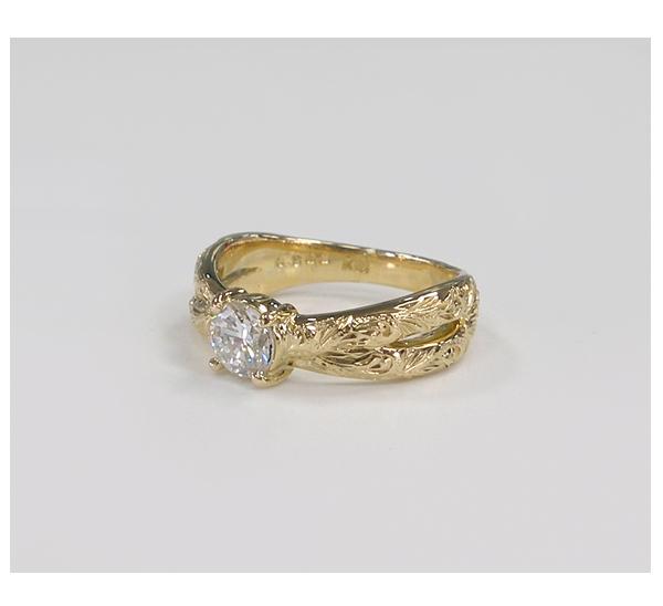 リフォーム後の婚約指輪 K18ブルーダイヤモンドリング クロスデザイン ハワイアンジュエリー