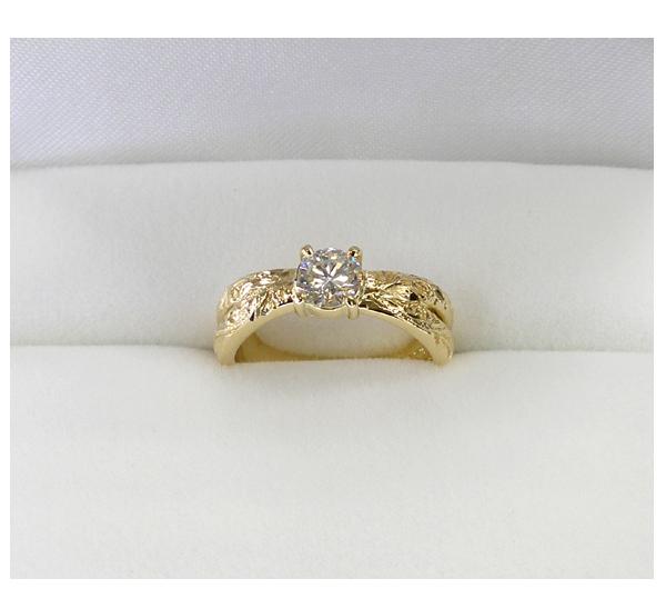 リフォーム後の婚約指輪 K18ブルーダイヤモンド入りリング クロスデザイン ハワイアンジュエリー