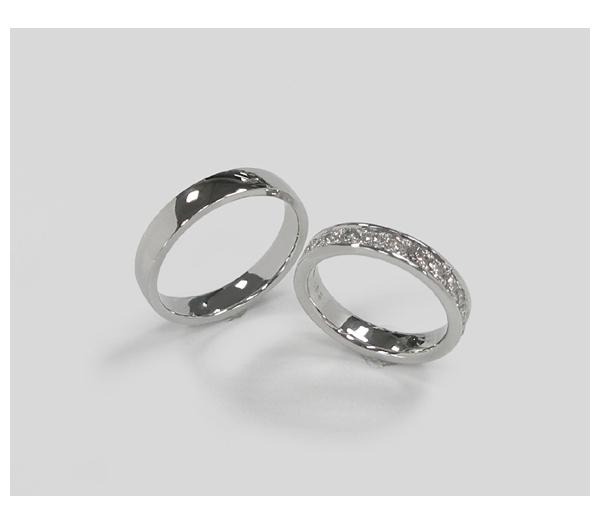 結婚指輪 Pt平甲丸リング、Ptエタニティリング
