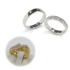 メレーダイヤモンドを外して、お嫁さんの結婚指輪に