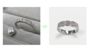 エメラルドカットのダイヤモンドリングのリフォーム